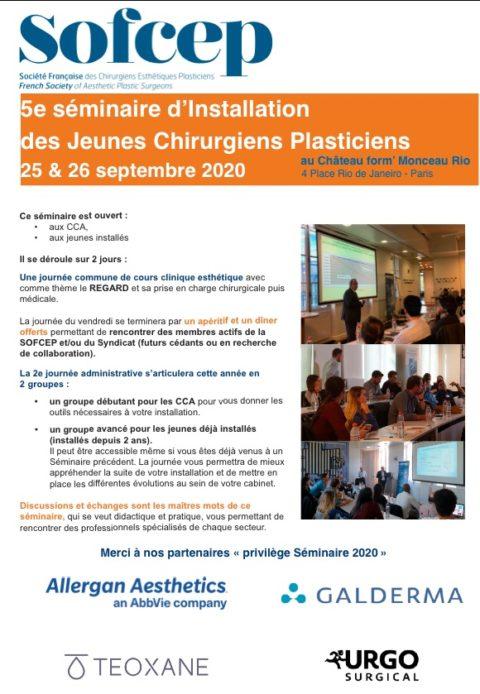Séminaire d'installation Jeunes Chirurgiens Plasticiens 25-26 septembre 2020